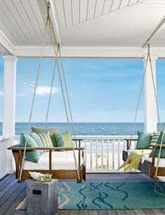 Seaside Porch, Outer Banks, North Carolina..........I would paint the ceiling pale blue