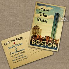 Boston Save The Date Postcards  Vintage Travel by NiftyPrintables