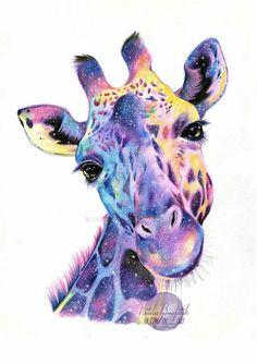 Galaxy Giraffe by Thalie-Na on DeviantArt Giraffe Painting, Giraffe Art, Animal Paintings, Animal Drawings, Art Drawings, Watercolor Animals, Watercolor Art, Giraffe Tattoos, Giraffe Pictures