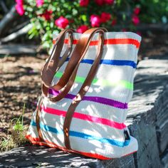 Canvas Leather Tote Multi