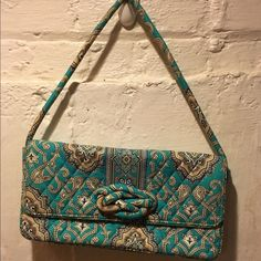"""Vera Bradley Blue Brown Purse Tote Super cute. Measures 12x6 with a 8.5"""" strap drop. In overall great condition with minimal fade from normal use. Check out our closet for great bundle offers. Vera Bradley Bags Shoulder Bags"""