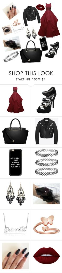 """""""Prom Look!"""" by beautydiva13 ❤ liked on Polyvore featuring MICHAEL Michael Kors, Yves Saint Laurent, Casetify, Bling Jewelry, Alex and Ani and Lime Crime"""