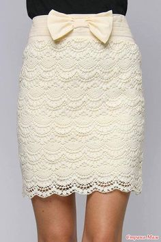 Openwork crochet skirt. Has graphs