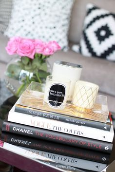 Loving Lucite Tray with Gold. Coffee table books complete the look.