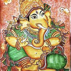 Ganesh kerala mural acrylic on canvas Jai Ganesh, Lord Ganesha, Lord Shiva, Radha Rani, Krishna Radha, Ganesha Painting, Cartoon Kids, Art Sketches, Bowser