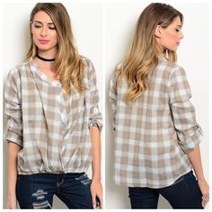 GREY OATMEAL PLAID TOP This 100% cotton plaid top is completely adorable with its gathered bubble hem and adjustable length sleeves! Perfect for the current weather and into winter!   S  2 M  2 L  2 Please comment size needed below.  PLEASE DO NOT BUY THIS LISTING. Allow me to make your separate listing for you or help you make a bundle ❤️.  NO PAYPAL NO TRADES. Price is FIRM unless bundled. Tops