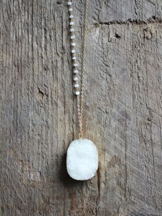 Gold Edged White Druzy Stone Necklace with by JESDesignStudio
