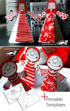 PAPER DOLLS printble templates, personalize with yarn and colors Diy Crafts For Kids, Arts And Crafts, Paper Crafts, Easy Crafts, Cardboard Art, Paper Tree, Preschool Art, Art Plastique, Paper Dolls