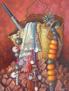 Art Marocain, Fashion Illustration Face, Middle Eastern Art, Moroccan Art, Persian Calligraphy, Oil Pastel Art, Vintage Headbands, Arabic Art, Painting Still Life