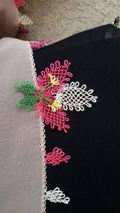 Çiçekli havlu kenarı yapılışı 16