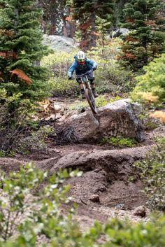 Going for the gap. Trail: Boondocks - Northstar California Mountain Bike Park