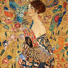 Scarlet Quince cross stitch chart: Lady with Fan - Gustav Klimt