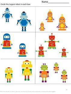 FREE: Free Math Fun With Robots Sampler With this Sampler you will receive three… Nursery Activities, Kindergarten Math Activities, Nono Le Petit Robot, Robot Classroom, Math Sites, Robot Theme, Free Math, Puzzles For Kids, Toddler Crafts