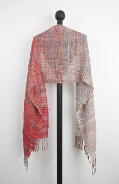 Hand woven scarf in Red to Mist Grey sparkle 1004 by Timeja, $135.00