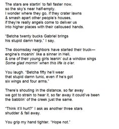 """modernaukeats: """" Rural Boys Watch The Apocalypse (rough draft) by Keaton Michael """"// Reminds me of Supernatural Writing Poetry, Writing Tips, Writing Prompts, Poem Quotes, Words Quotes, Sayings, Qoutes, Pretty Words, Beautiful Words"""