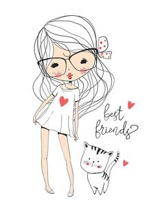 Find Cute Girl Cat stock images in HD and millions of other royalty-free stock photos, illustrations and vectors in the Shutterstock collection. Clipart Baby, Illustration Mignonne, Illustration Girl, Girl Drawing Sketches, Cute Drawings, Girl Cartoon, Cute Cartoon, Art Mignon, Baby Clip Art