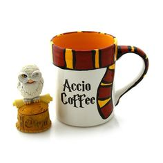 Harry Potter Mug, Accio Coffee with gryffindor scarf, home and living, cups and mugs, ceramics and pottery, 16 oz Do you know someone who is still obsessed with all things Harry Potter? Let them drink