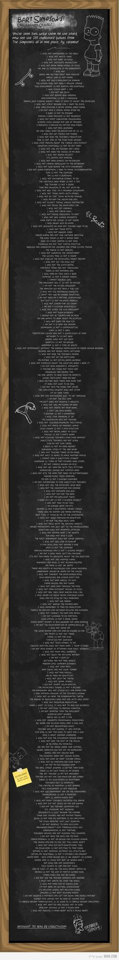 "Every Bart Simpson Chalkboard Quote. In honor of ""The Simpsons"" episode this weekend, here is every single sentence Bart has ever written on Mrs. The Simpsons, Simpsons Quotes, Bart Simpson Chalkboard, Cinema, Chalkboard Quotes, Chalkboard Writing, Just In Case, Funny Quotes, Funny Humor"