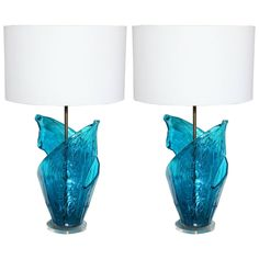 Beautiful Pair of Sculptural Murano Table Lamps   From a unique collection of antique and modern table lamps at https://www.1stdibs.com/furniture/lighting/table-lamps/