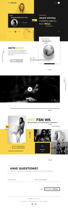 Mdlng modeling agency website dribbble landing page ui design robert berki