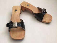 Dr. Scholl's Shoes The Original Slide Sandals Wood Sole Black Leather Strap 7M…