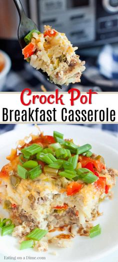 CrockPot Breakfast Casserole Recipe - crockpot breakfast casserole Try this easy CrockPot Breakfast Casserole Recipe for a delicious breakfast idea. This is perfect for holidays but easy enough for busy school mornings. Crockpot Breakfast Casserole, Slow Cooker Breakfast, Brunch Casserole, Breakfast Dishes, Casserole Recipes, Crockpot Recipes, Breakfast Recipes, Cooking Recipes, Breakfast Ideas