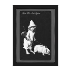 Piggy and I Vintage Postcard Photography Canvas Print
