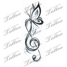Marketplace Tattoo Butterfly Music #16023 | CreateMyTattoo.com