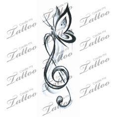 Marketplace Tattoo Butterfly Music #16023 | CreateMyTattoo.com
