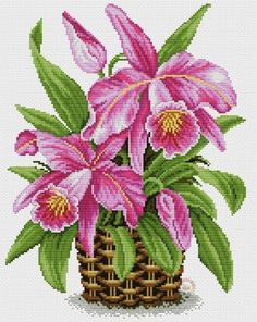 More cattleya orchids Cross Stitching, Cross Stitch Embroidery, Embroidery Patterns, Hand Embroidery, Hardanger Embroidery, Cross Stitch Charts, Cross Stitch Designs, Cross Stitch Patterns, Loom Patterns