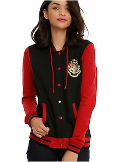 bf13e1e1054df Black and red varsity style jacket from Harry Potter with a Hogwarts crest  on the front