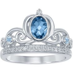 Enchanted Disney London Blue Topaz Cinderella Carriage Ring in... ($299) ❤ liked on Polyvore featuring jewelry, rings, disney, blue, silver, round ring, london blue topaz ring, london blue topaz jewelry, sterling silver jewelry and blue jewelry