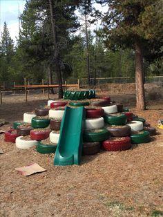 Backyard Dog Playground Diy 57 Ideas - Jacqueline MacIntyre - Re-Wilding Tire Playground, Preschool Playground, Playground Design, Outdoor Playground, Playground Ideas, Dog Backyard, Backyard Playset, Backyard For Kids, Kids Outdoor Play