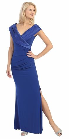 Overlapping V Neck Long Thigh Slit Royal Blue Column Gown Gala Night Dress, Formal Wear, Formal Dresses, Floor Length Gown, Royal Blue Dresses, Pretty Dresses, Party Dress, Classy, Gowns