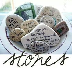 I love this idea ...there is time to write on rocks.