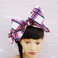 Striped Vintage Scarf Hair Bow Bandana Head Scarf Ladies by LilaJo (Accessories, Scarves & Wraps, Scarves, head scarf, hair tie, hair bow, rockabilly, pinup, big bow, knot headband, vintage, scarf, ladies neck tie, vintage scarf, red, navy)