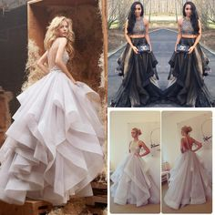 2015 Crop Top Beaded Two Piece Prom Dresses Jewel Neck Organza Pageant Party Evening Gowns Custom Made High Quality 2015 Arabic