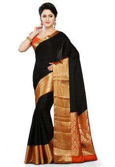 Black & Orange Colour Pure Mysore Silk Saree with Gold Design and Border.