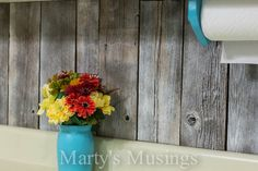 reclaimed wood wall backsplash - idea #2
