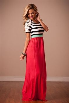 Red long dress outfit easter
