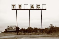 Route 66 - Abandoned Texaco Station. On old Rt. 66 in Oklahoma.