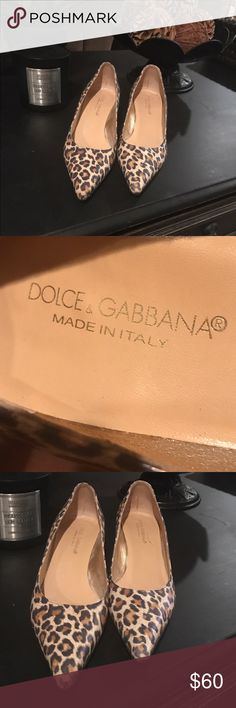 Dolce & Gabbana leopard kitten Heels Dolce & Gabbana leather leopard kitten heels with wear on soles from use and small area by toe shown in picture Dolce & Gabbana Shoes Heels