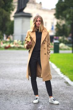 Camel coat and Acne emoticon sneakers-Casual Street Style Pinterest | Why I can never have enough sneakers!