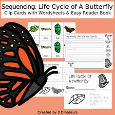 3 Dinosaurs - Sequencing: Life Cycle of a Butterfly 3 Year Old Activities, Insect Activities, Spring Activities, Book Activities, Preschool Activities, Insect Crafts, Easy Reader, Butterfly Life Cycle, Bugs And Insects