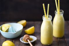 Sunshine in a Bottle Lemon Smoothie - A healthy way to jolt yourself awake on a dreary morning.