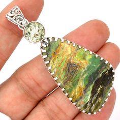 15g Serpetine Oplite 925 Sterling Silver Pendant Jewelry SP181787 | eBay
