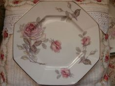 VINTAGE LIMOGES FRANCE ROSES 8 HEXAGON PLATES + DISH AFTERNOON TEA SILVER TRIM