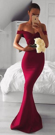 burgundy long bridesmaid dress, 2018 long bridesmaid dresses, off the shoulder burgundy mermaid long bridesmaid dresses, formal evening dresses