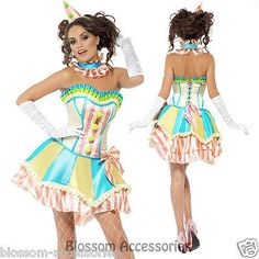 I61 Sexy Funny Clown Costume Circus Carnival Fancy Dress Birthday Party Outfit