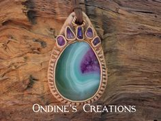 Amethyst and Green and Purple Agate  Hand Crafted Pendant # 159